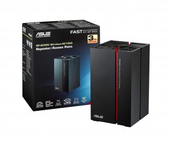 Asus RP-AC68U Dual-Band Repeater Media-Bridge (Wi-Fi 5 AC1900, 5x Gigabit LAN, USB 3.0, Asus Gaming Design, ExpressWay, App Steuerung)