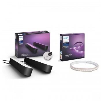 Philips Hue White and Color Ambiance Play Lightbar Doppelpack + LightStrip+ Basis Set (ohne Bridge)