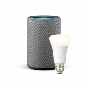 Echo Plus (2. Gen.), Hellgrau Stoff + Philips Hue White LED-Lampe
