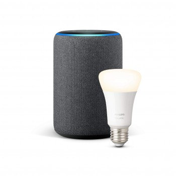 Echo Plus (2. Gen.), Anthrazit Stoff + Philips Hue White LED-Lampe