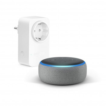 Echo Dot (3. Gen.), Hellgrau Stoff + Amazon Smart Plug (WLAN-Steckdose), Funktionert mit Alexa