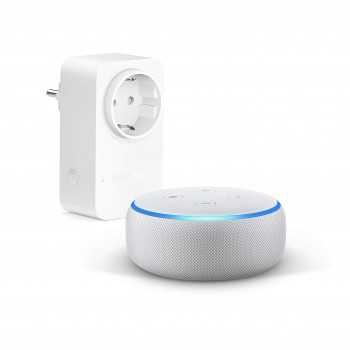 Echo Dot (3. Gen.), Sandstein Stoff + Amazon Smart Plug (WLAN-Steckdose), Funktionert mit Alexa