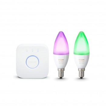 Philips Hue White and Color Ambiance - Pack de 2 bombillas LED E14, 6.5W, Puente hue incluido, iluminación inteligente, cambian de color ,compatible con Amazon Alexa, Apple HomeKit y Google Assistant