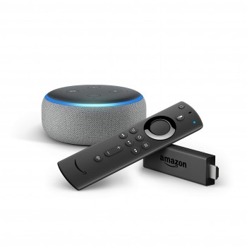 Amazon Fire TV Stick con mando por voz Alexa + Echo Dot (3.ª generación), tela de color gris oscuro