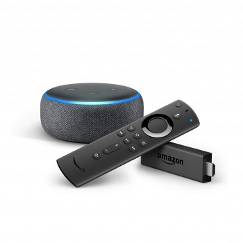 Amazon Fire TV Stick con mando por voz Alexa + Echo Dot (3.ª generación), tela de color antracita