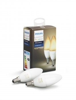 Philips Hue White Ambiance Pack de 2 ampoules flamme E14 6W