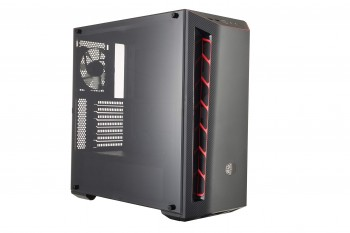 Cooler Master MasterBox MB510L - Boîtier Moyen tour PC Gaming ATX, façade en imitation carbone, entrées d'air Racing, panneau latéral transparent, flexibles configurations de flux d'air - Accent ROUGE