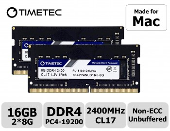 Timetec Hynix IC compatible with Apple 16GB DDR4 2400MHz PC4-19200 SODIMM Memory Upgrade For iMac Retina 4k/5K 21.5-inch/27-inch Mid 2017 16GB(8GBx2) Single Rank