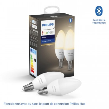 Philips Hue Ampoules LED Connectées White E14 Compatible Bluetooth, Fonctionne avec Alexa, 40 W, Pack de 2 Ampoules