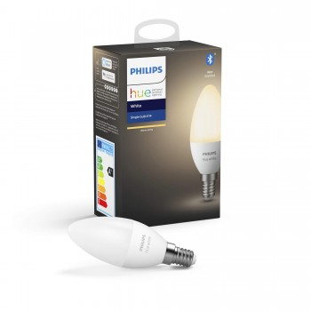 Philips Hue Ampoule LED Connectée White E14, Compatible Bluetooth 40 W, Fonctionne avec Alexa