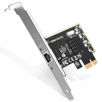 2.5GBase-T PCIe Network Adapter with 1 Port, 2500/1000/100Mbps PCI Express Gigabit Ethernet Card RJ45 LAN Controller Support Windows Server/Windows/Linux, Standard and Low-Profile Brackets Included