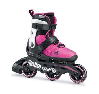 Rollerblade MICROBLADE 3WD G Patins à roulettes Blancs, Unisexe, Blanc/Rose, 210