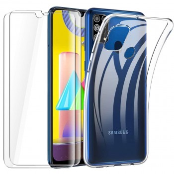 HTDELEC Coque Samsung Galaxy M31 Transparente + 2 × Verre trempé Protection écran,Souple TPU Étui Protection Bumper…