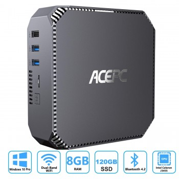 ACEPC AK2 Mini PC,8GB RAM+120GB SSD,Windows 10(64 Bits),Intel Celeron Apollo Lake J3455 (jusqu'à 2,3 GHz) Mini…