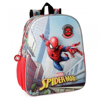 Spiderman Grafiti Preschool Backpack, 33 cm Front Part In 3D