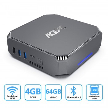 ACEPC AK2 Mini PC, Intel Celeron J3455,4GB RAM+64GB ROM, Windows 10 Pro(64-bit), Supporto 2.5'' SATA SSD/HDD, Dual WiFi…