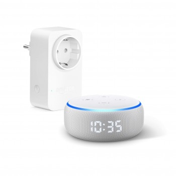 Echo Dot (3ª generazione) - Altoparlante intelligente con orologio e Alexa + Amazon Smart Plug (presa intelligente con connettività Wi-Fi), compatibile con Alexa
